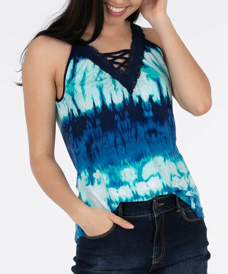 Sleeveless Crochet Trim Top, Deep Sapphire/Aqua, hi-res