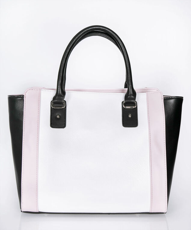 Colour Block Satchel, Black/Milkshake/Pastel Pink, hi-res