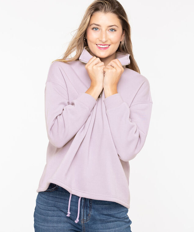 Long Sleeve Half Zip Pullover, Soft Mauve, hi-res