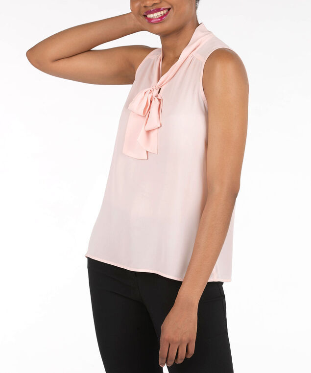 Sleeveless Bow-Tie Blouse, Cameo Pink, hi-res