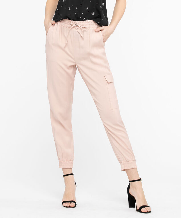 Drawstring Cargo Jogger Pants, Blush, hi-res