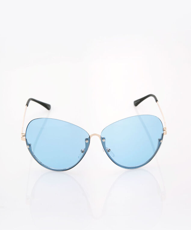 Frameless Aviator Sunglasses, Blue/Silver, hi-res