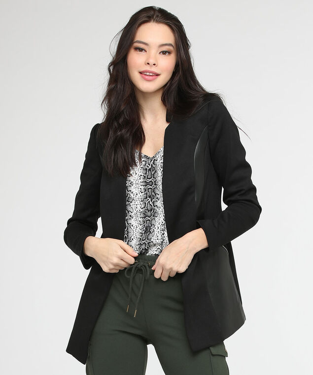 Inverted Notch Collar Long Blazer, Black, hi-res