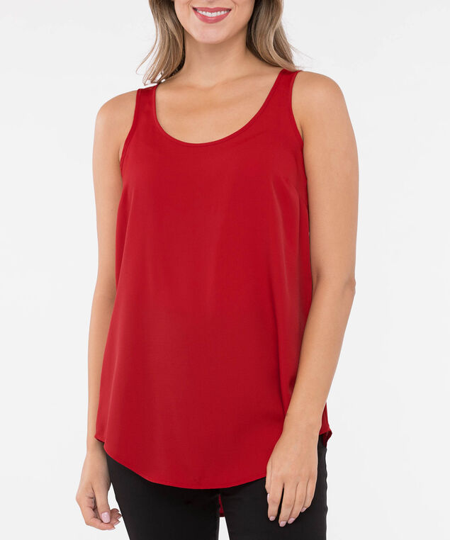 SCOOP NECK WOVEN LAYERING CAMI, Crimson, hi-res