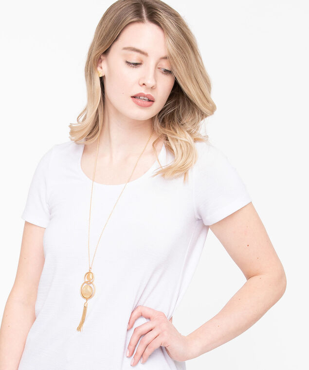 Matte Metal Tassel Necklace Set, Gold, hi-res