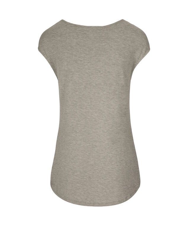 Extended Sleeve Scoop Neck Graphic Tee, Heathered Grey, hi-res