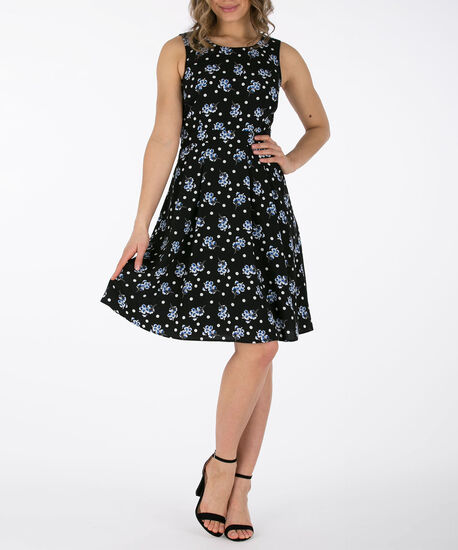 Sleeveless Fit & Flare Dress, Black/Pearl/Blue, hi-res
