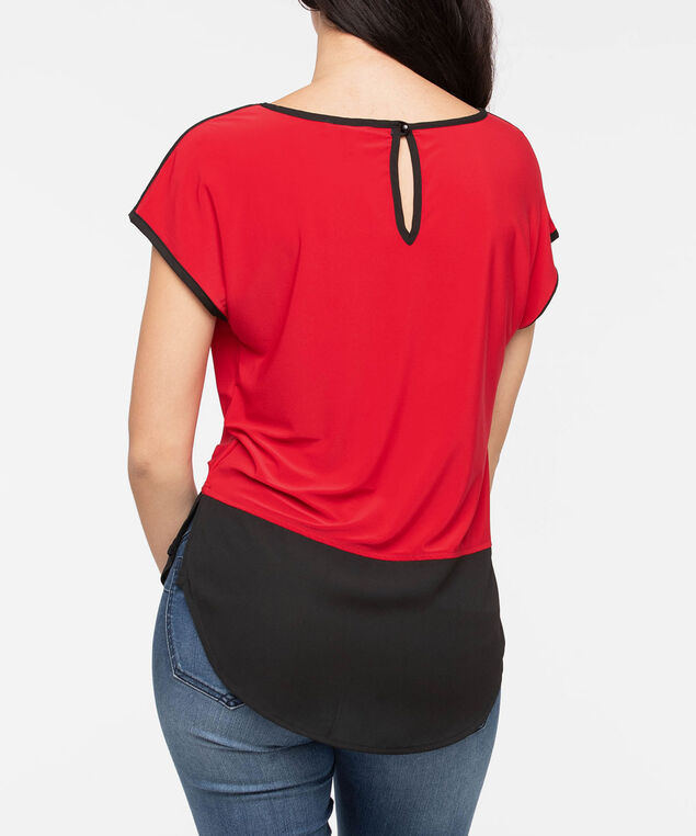 Short Sleeve Colourblock Fooler Top, Cherry/Black, hi-res