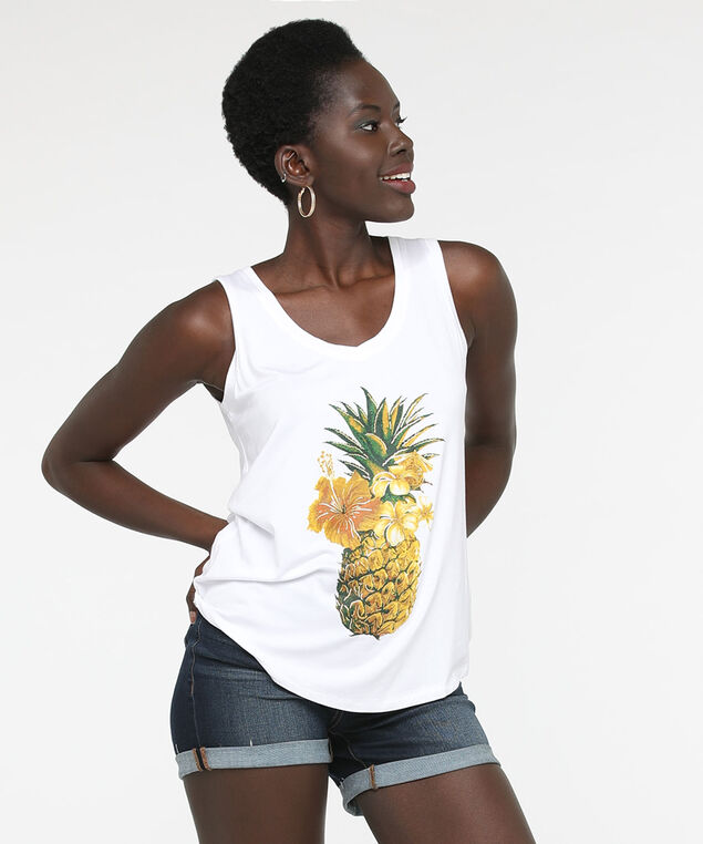 Pineapple Sleeveless V-Neck Top, True White/Marigold/Gold Foil, hi-res