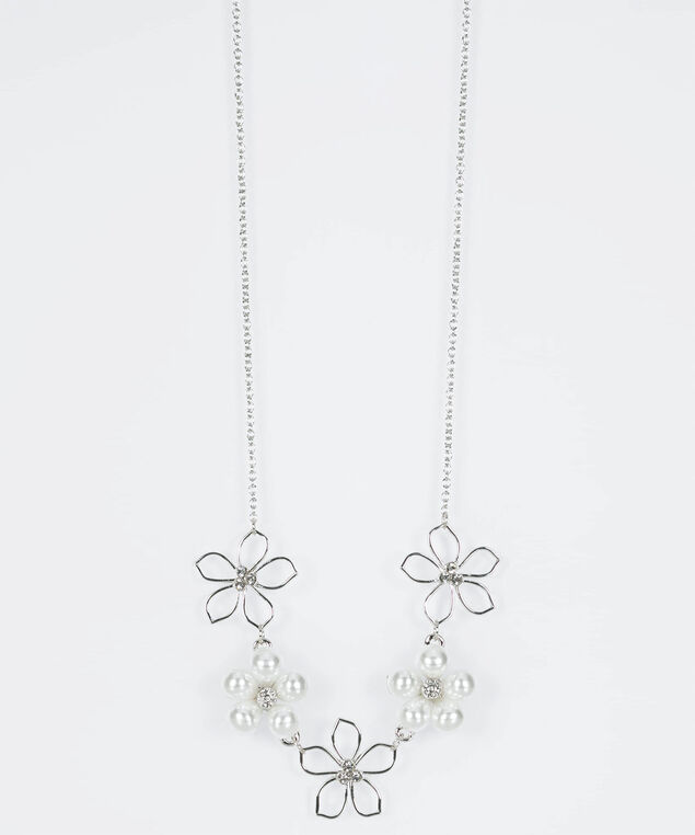 Pearl & Crystal Flower Statement Necklace, Rhodium/Pearl, hi-res