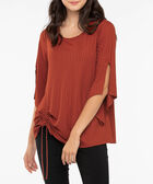 Split Sleeve Ruched Front Top, Dark Rust, hi-res