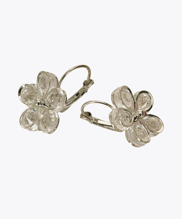 Crystal Flower Earring, Clear/Rhodium, hi-res