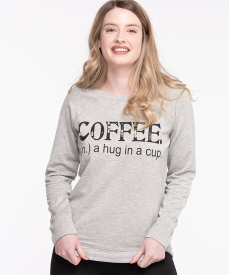 French Terry Slogan Pullover, Light Grey, hi-res