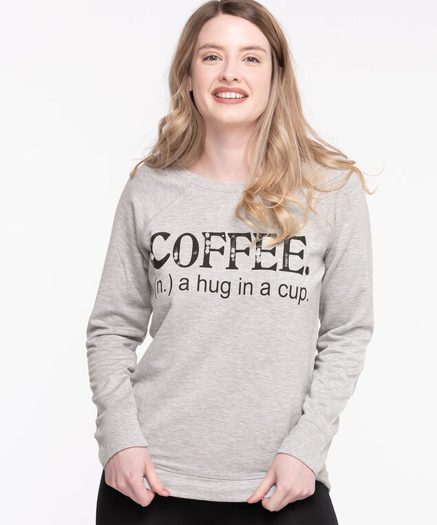 French Terry Slogan Pullover, Light Grey