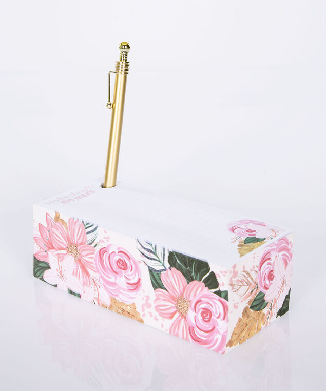 Floral Block Memo Pad Set, Pink/Gold, hi-res