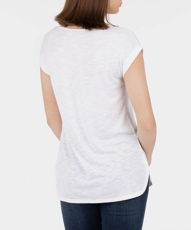 Roll Cuff Extended Sleeve Top, Pearl, hi-res