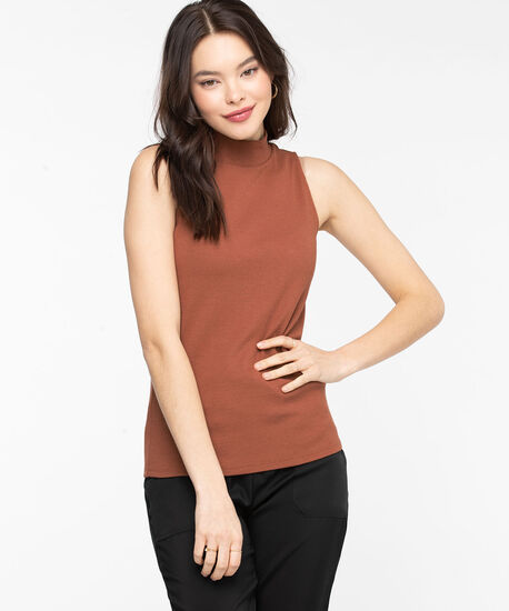 Sleeveless Mock Neck Top, Terra Cotta, hi-res