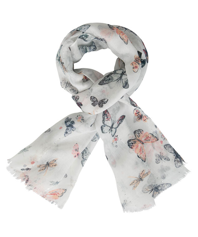 Butterfly Print Oblong Scarf, Pearl/Sky Blue/Peach Sorbet, hi-res