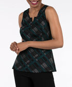 Sleeveless Ponte Peplum Top, Ivy/Black/Charcoal, hi-res