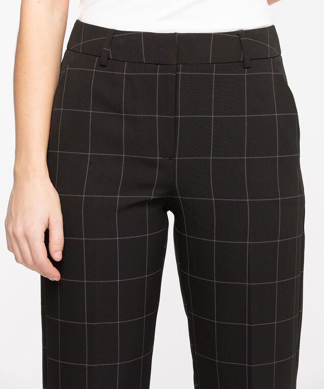 Windowpane Straight Leg Pant, Black/Grey Plaid