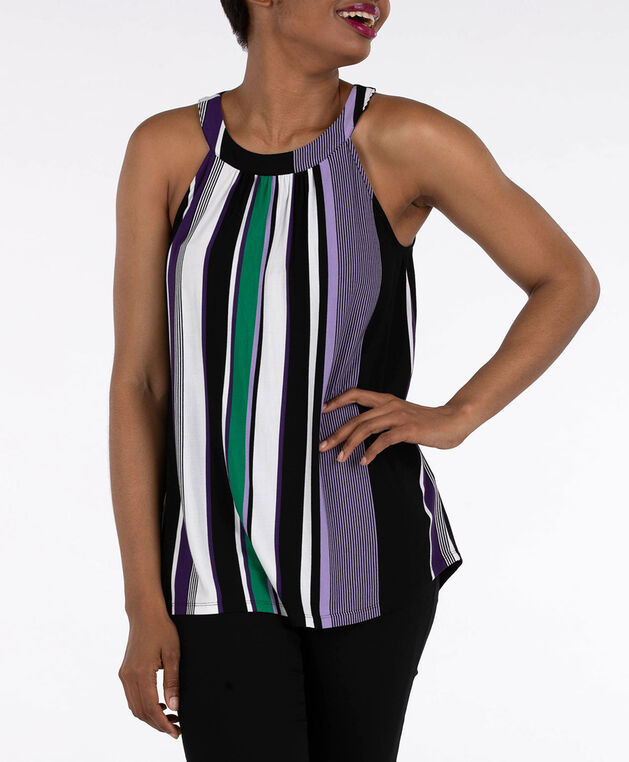 Sleeveless Striped Halter Neck Top, Green/Purple/Black/White, hi-res