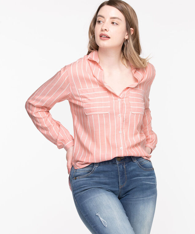 Collared Tie-Front Blouse, Green/White Stripe