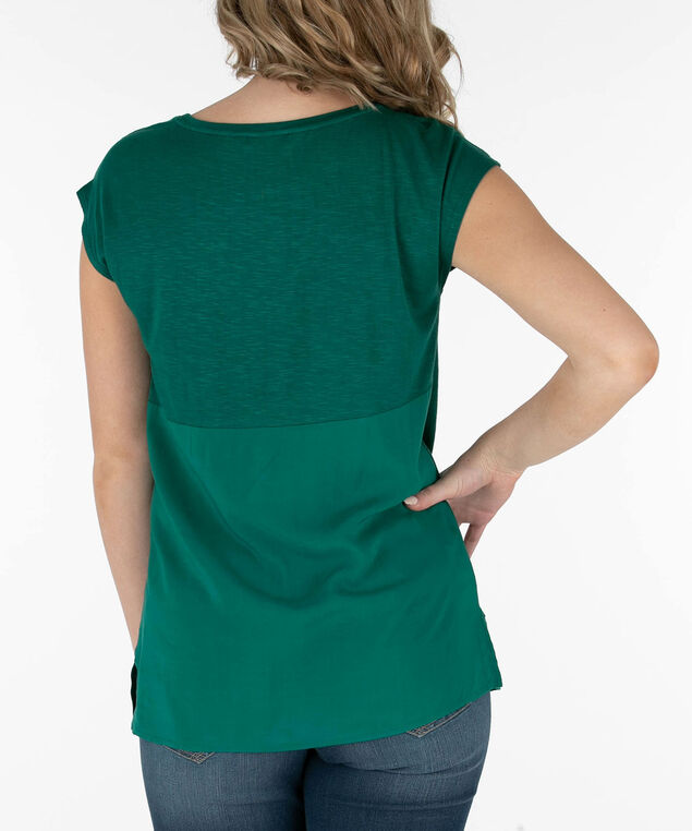 1879b809c98 Extended Sleeve Woven Trim Top