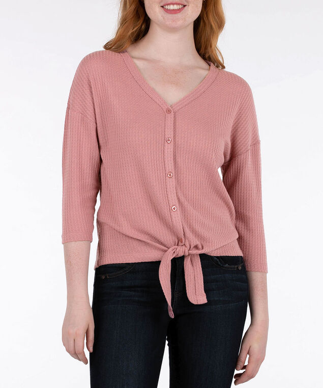 Tie Front 3/4 Sleeve Top, Dusty Pink, hi-res