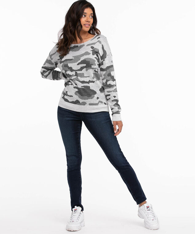 Long Sleeve Patterned Pullover, Heather Grey Camo