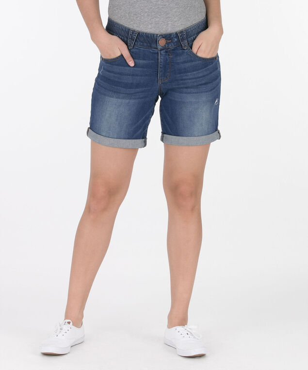 "Democracy ""AB""Solution Cuffed Denim Short, Mid Wash, hi-res"