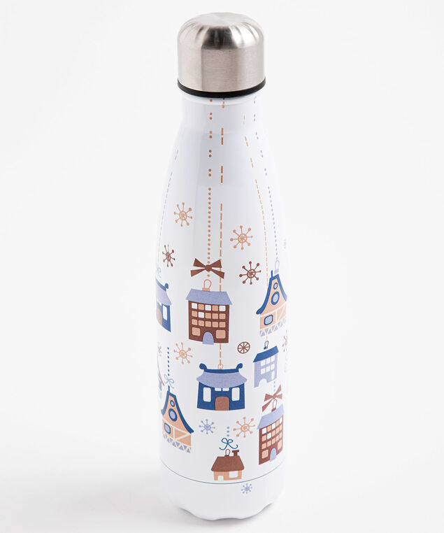Patterned Insulated Water Bottle, White Houses