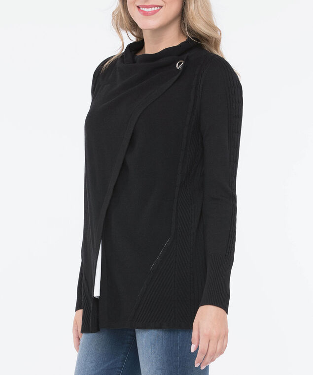 Side Toggle Fine Cable Cardigan, Black, hi-res