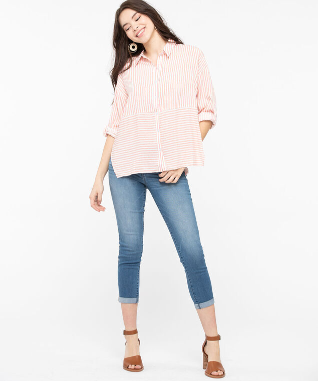 Multi-Stripe Button Down Blouse, Peach/Pearl, hi-res