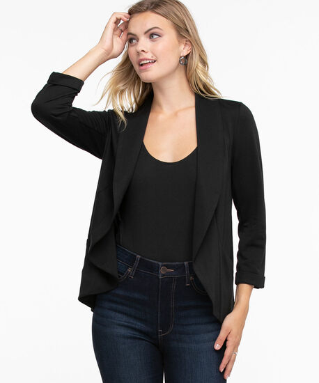 Terry Shawl Collar Cover Up, Black, hi-res