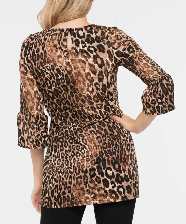 Flounce Sleeve Animal Print Top, Brown/Black, hi-res