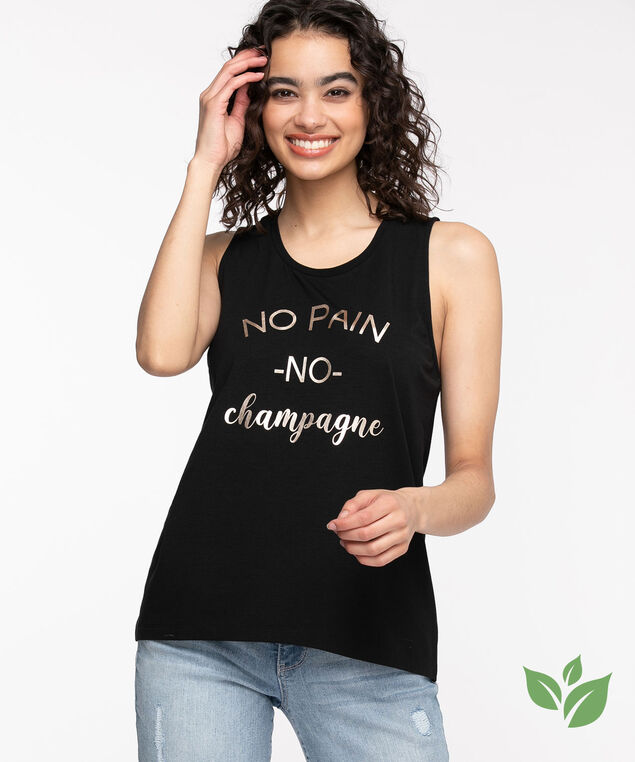 Eco-Friendly Sleeveless Graphic Top, Black/Silver