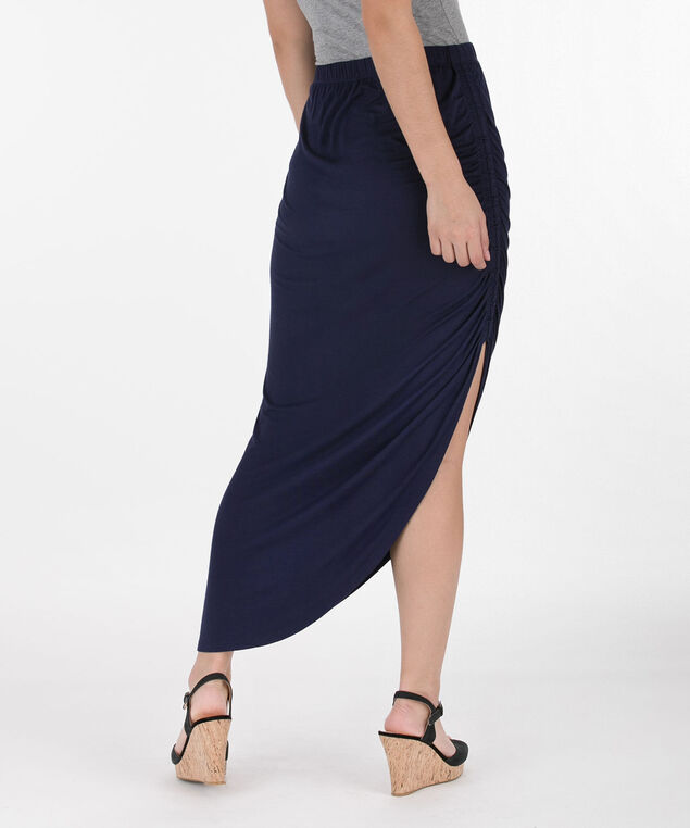 Ruched Side Slit Maxi Skirt, Summer Navy, hi-res