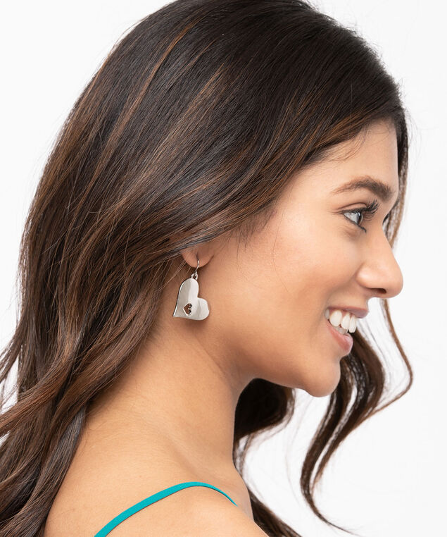 Heart Cut-Out Drop Earring, Rhodium, hi-res