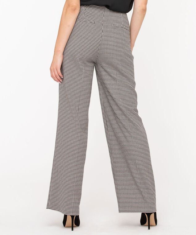 Houndstooth Wide Leg Pant, Black/Camel, hi-res