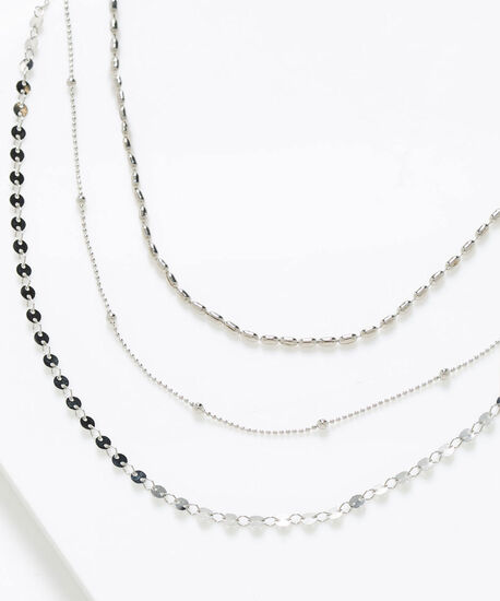 Delicate Silver Layered Necklace, Silver, hi-res
