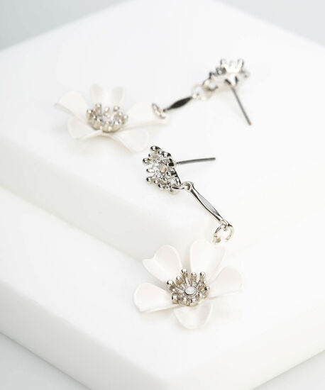 White Daisy Drop Earring, White/Rhodium, hi-res