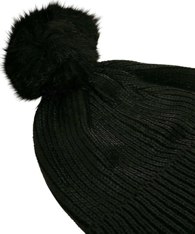 Ribbed Foil Finish Beanie, Black, hi-res