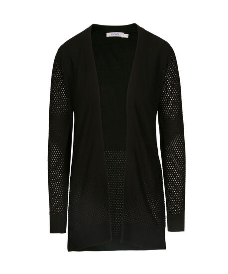Fine Ribbed Open Cardigan, Black, hi-res