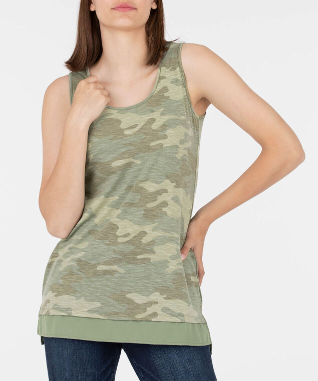 Camo Print Sleeveless Fooler Top, Olive/Light Sage, hi-res