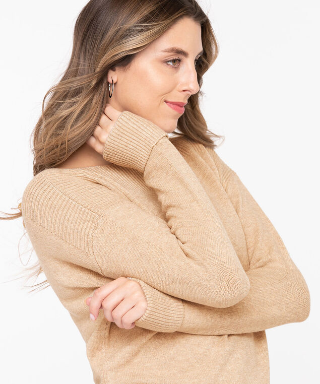 Cuffed Boatneck Pullover Sweater, Oatmeal, hi-res