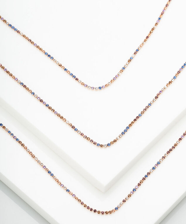 Pastel Rainbow Pave Crystal Necklace, Rose Gold
