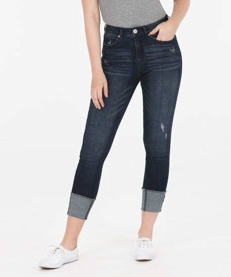 Dark Wash Turn Back Ankle Jean, Dark Blue, hi-res