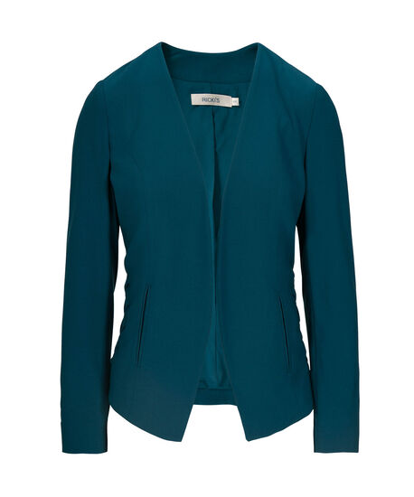 Side Lace-Up Easy Stretch Blazer, Midnight Teal, hi-res