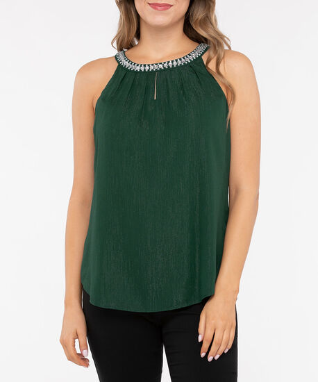 Beaded Pleat Neck Halter Blouse, Deep Green Sparkle, hi-res