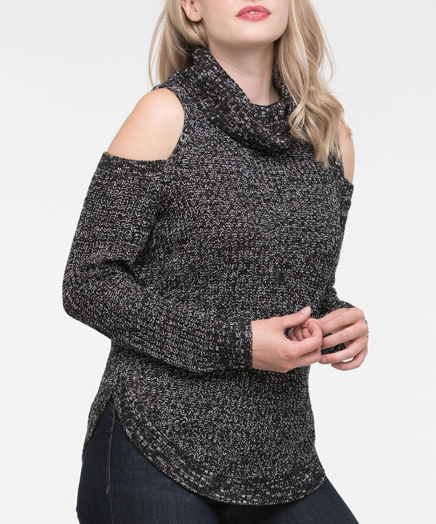 Cowl Neck Cold Shoulder Sweater, Black Mix, hi-res